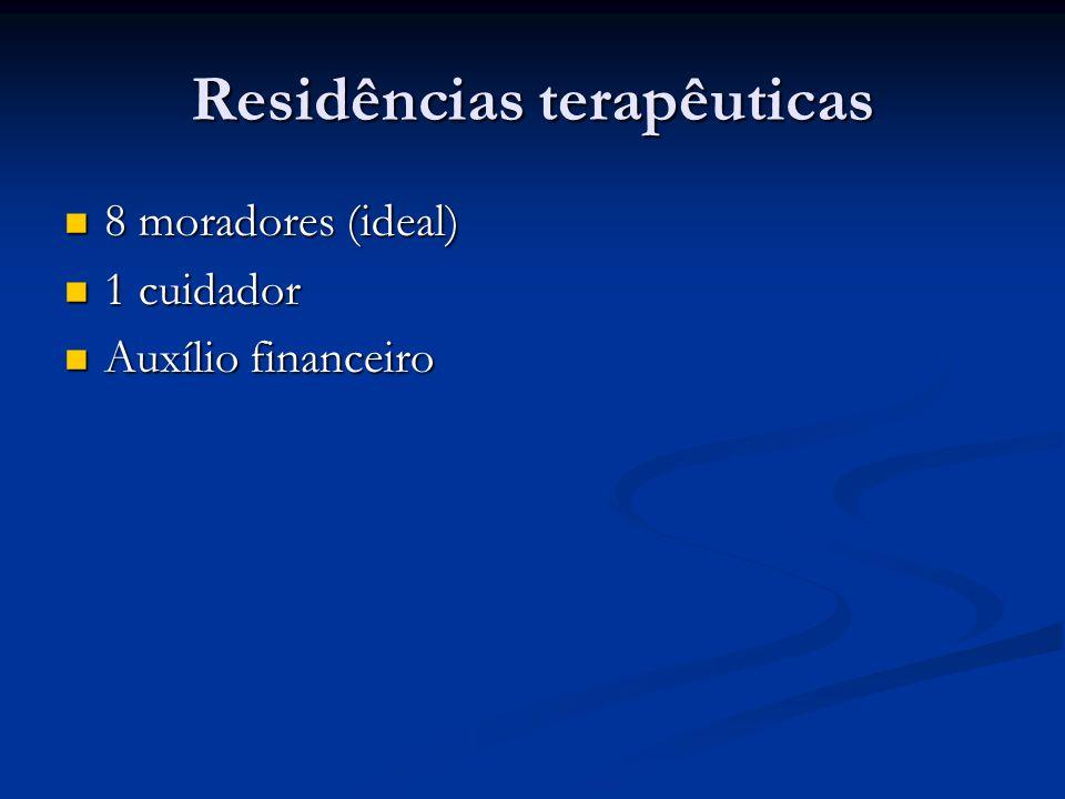 Residências terapêuticas 8 moradores (ideal) 8 moradores (ideal) 1 cuidador 1 cuidador Auxílio financeiro Auxílio financeiro