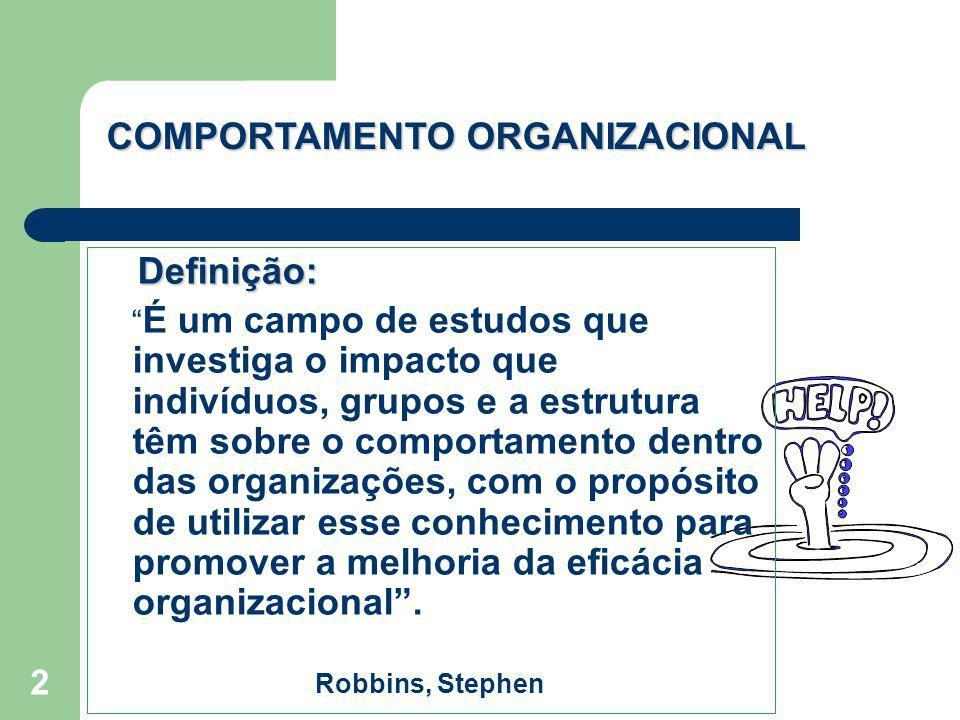 2 Definição: É um campo de estudos que investiga o impacto que indivíduos, grupos e a estrutura têm sobre o comportamento dentro das organizações, com
