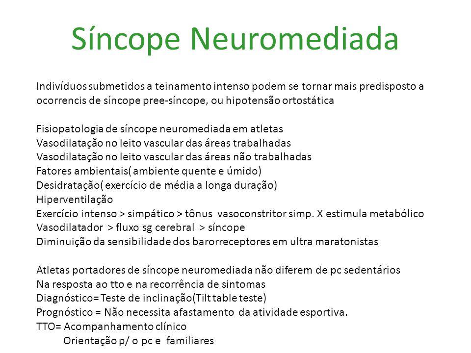 Síncope Neuromediada Indivíduos submetidos a teinamento intenso podem se tornar mais predisposto a ocorrencis de síncope pree-síncope, ou hipotensão o