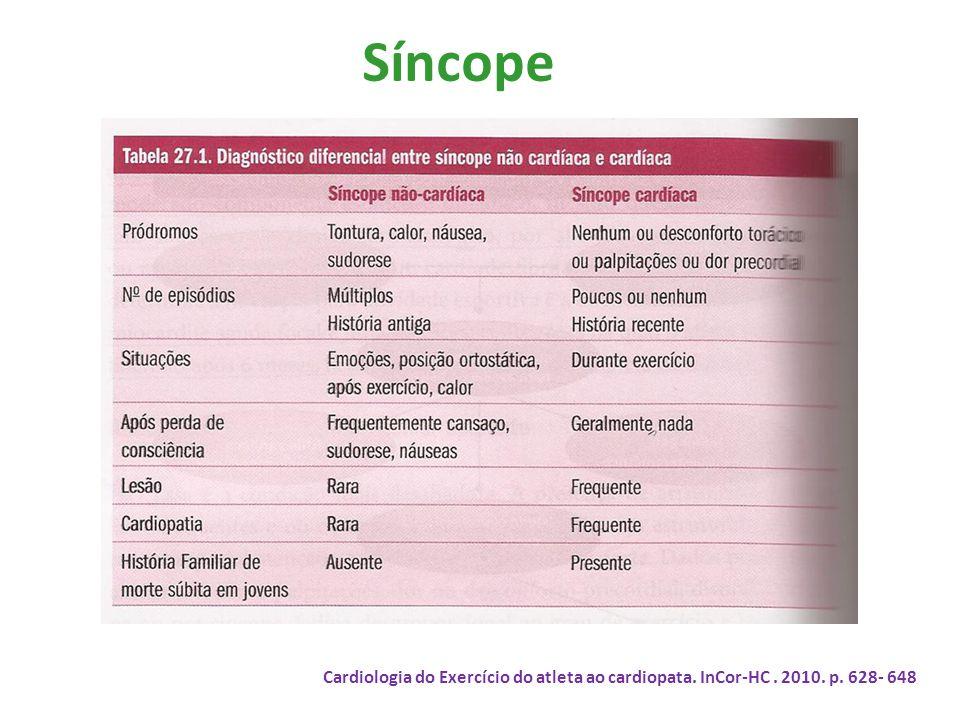 Síncope Cardiologia do Exercício do atleta ao cardiopata. InCor-HC. 2010. p. 628- 648