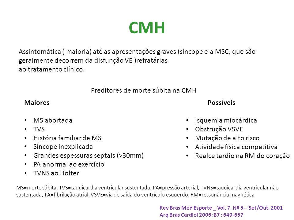 CMH Assintomática ( maioria) até as apresentações graves (síncope e a MSC, que são geralmente decorrem da disfunção VE )refratárias ao tratamento clínico.