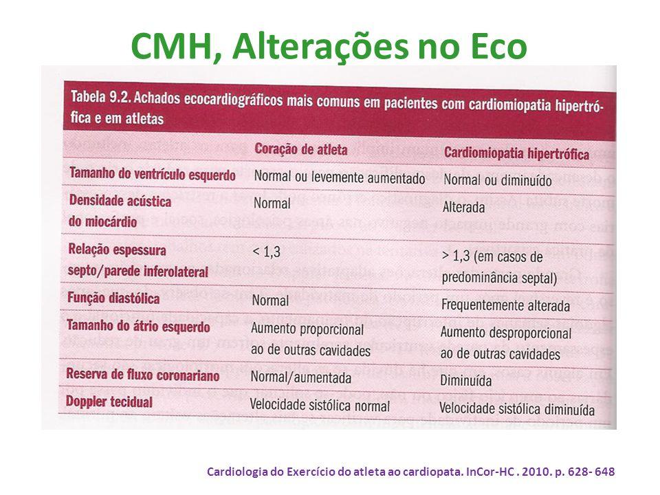 CMH, Alterações no Eco Cardiologia do Exercício do atleta ao cardiopata. InCor-HC. 2010. p. 628- 648