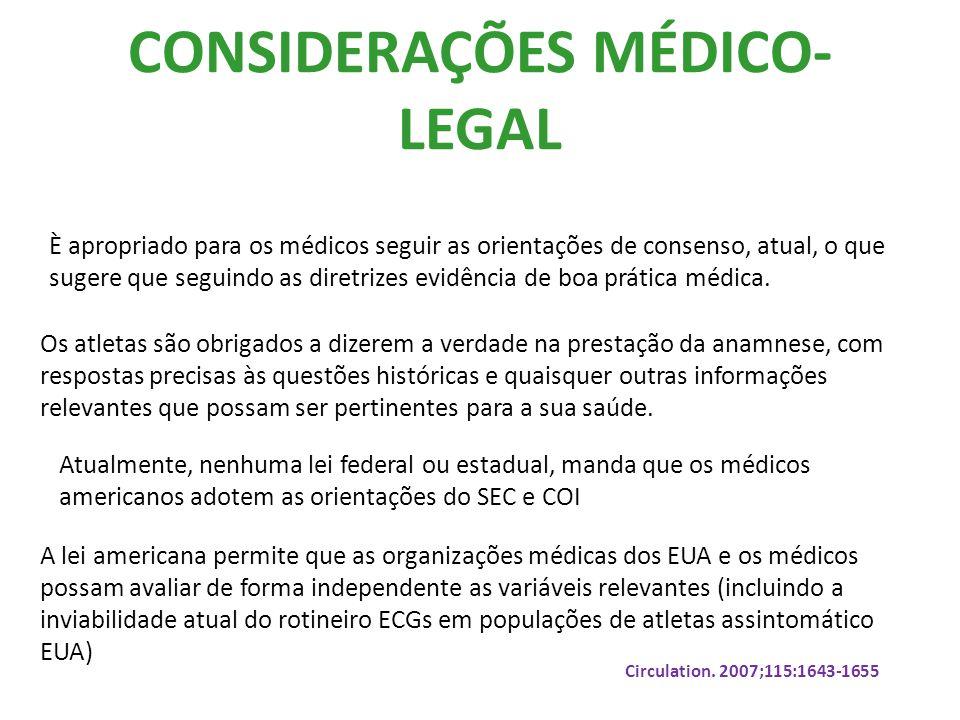 CONSIDERAÇÕES MÉDICO- LEGAL È apropriado para os médicos seguir as orientações de consenso, atual, o que sugere que seguindo as diretrizes evidência de boa prática médica.