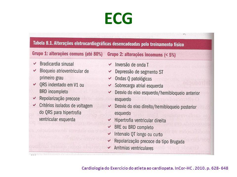 ECG Cardiologia do Exercício do atleta ao cardiopata. InCor-HC. 2010. p. 628- 648
