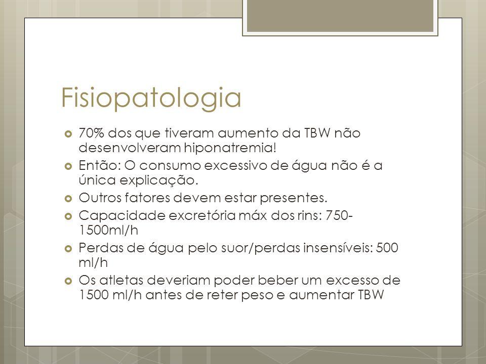 Fisiopatologia 70% dos que tiveram aumento da TBW não desenvolveram hiponatremia! Então: O consumo excessivo de água não é a única explicação. Outros