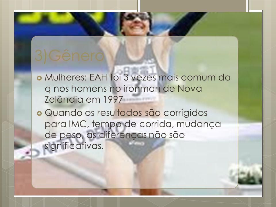 3)Gênero Mulheres: EAH foi 3 vezes mais comum do q nos homens no ironman de Nova Zelândia em 1997 Quando os resultados são corrigidos para IMC, tempo de corrida, mudança de peso, as diferenças não são significativas.