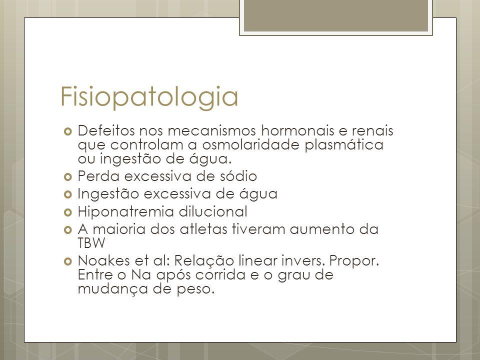Fisiopatologia Defeitos nos mecanismos hormonais e renais que controlam a osmolaridade plasmática ou ingestão de água. Perda excessiva de sódio Ingest