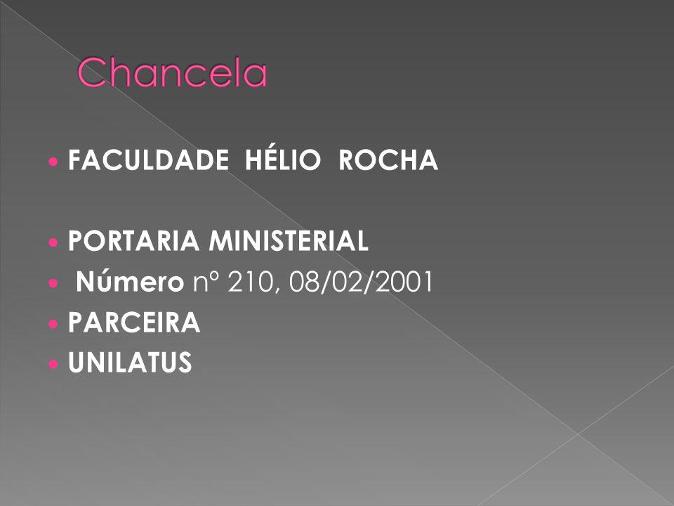 FACULDADE HÉLIO ROCHA PORTARIA MINISTERIAL Número nº 210, 08/02/2001 PARCEIRA UNILATUS