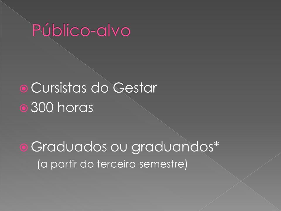 Cursistas do Gestar 300 horas Graduados ou graduandos* (a partir do terceiro semestre)