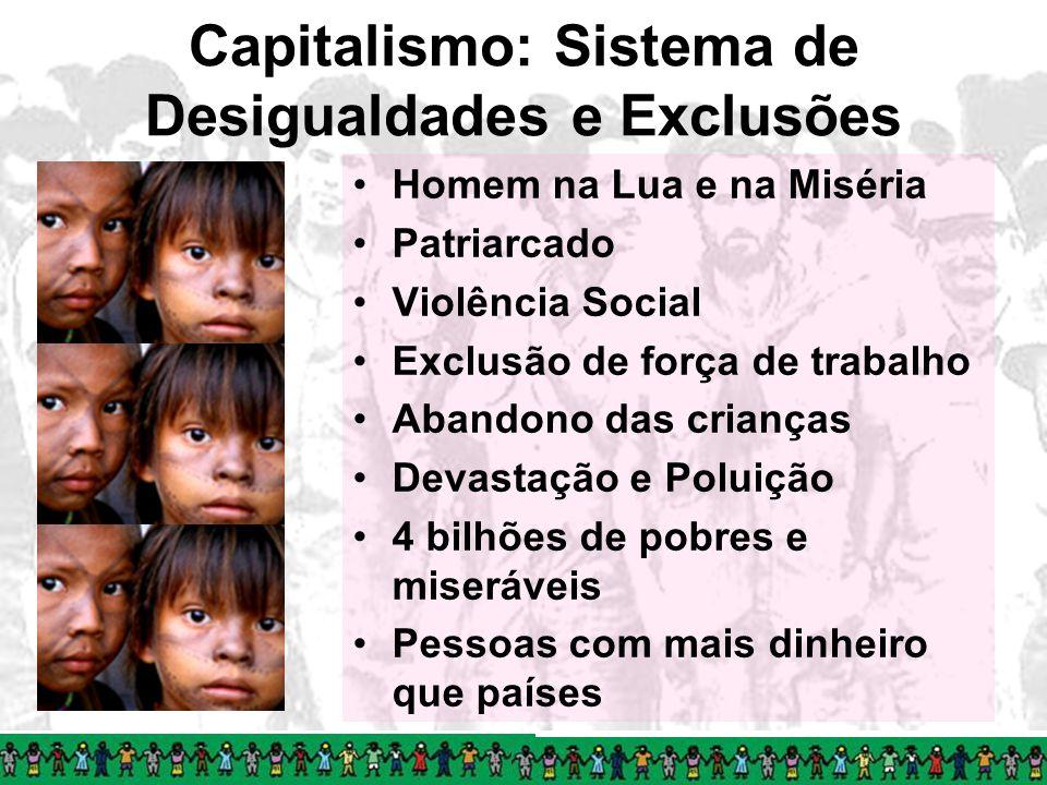 Capitalismo: Sistema de Desigualdades e Exclusões Homem na Lua e na Miséria Patriarcado Violência Social Exclusão de força de trabalho Abandono das cr