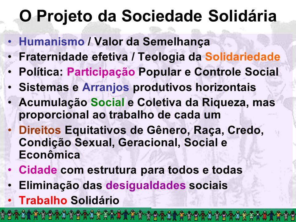 O Projeto da Sociedade Solidária Humanismo / Valor da Semelhança Fraternidade efetiva / Teologia da Solidariedade Política: Participação Popular e Con