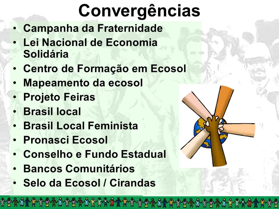 Convergências Campanha da Fraternidade Lei Nacional de Economia Solidária Centro de Formação em Ecosol Mapeamento da ecosol Projeto Feiras Brasil loca