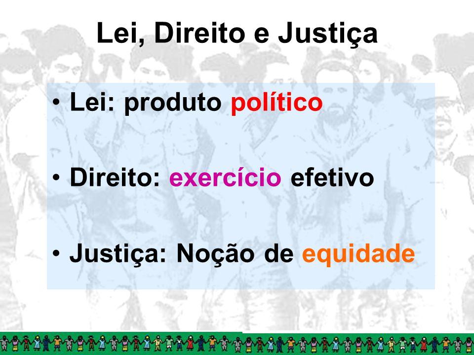 Lei, Direito e Justiça Lei: produto político Direito: exercício efetivo Justiça: Noção de equidade