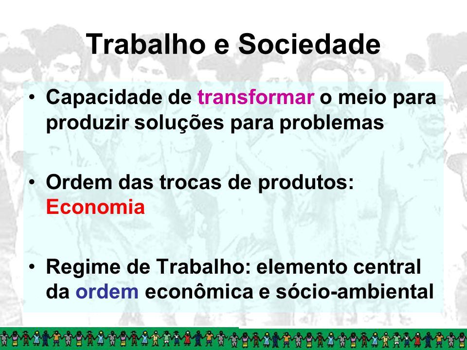 Trabalho e Sociedade Capacidade de transformar o meio para produzir soluções para problemas Ordem das trocas de produtos: Economia Regime de Trabalho: