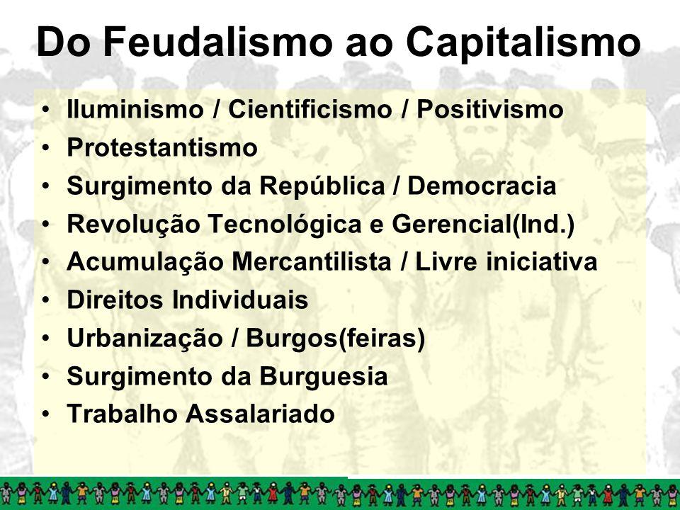 Do Feudalismo ao Capitalismo Iluminismo / Cientificismo / Positivismo Protestantismo Surgimento da República / Democracia Revolução Tecnológica e Gere