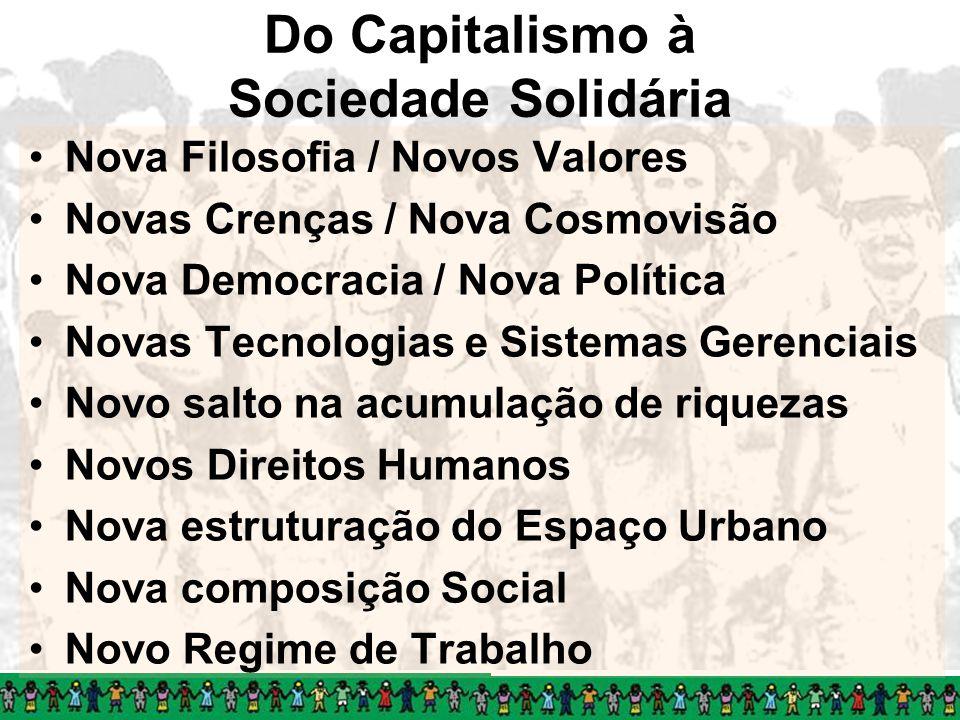 Do Capitalismo à Sociedade Solidária Nova Filosofia / Novos Valores Novas Crenças / Nova Cosmovisão Nova Democracia / Nova Política Novas Tecnologias