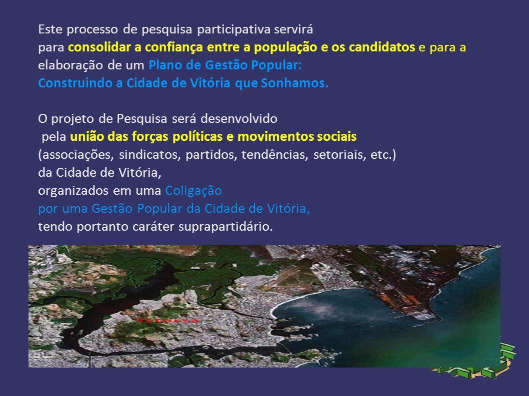 Este processo de pesquisa participativa servirá para consolidar a confiança entre a população e os candidatos e para a elaboração de um Plano de Gestão Popular: Construindo a Cidade de Vitória que Sonhamos.