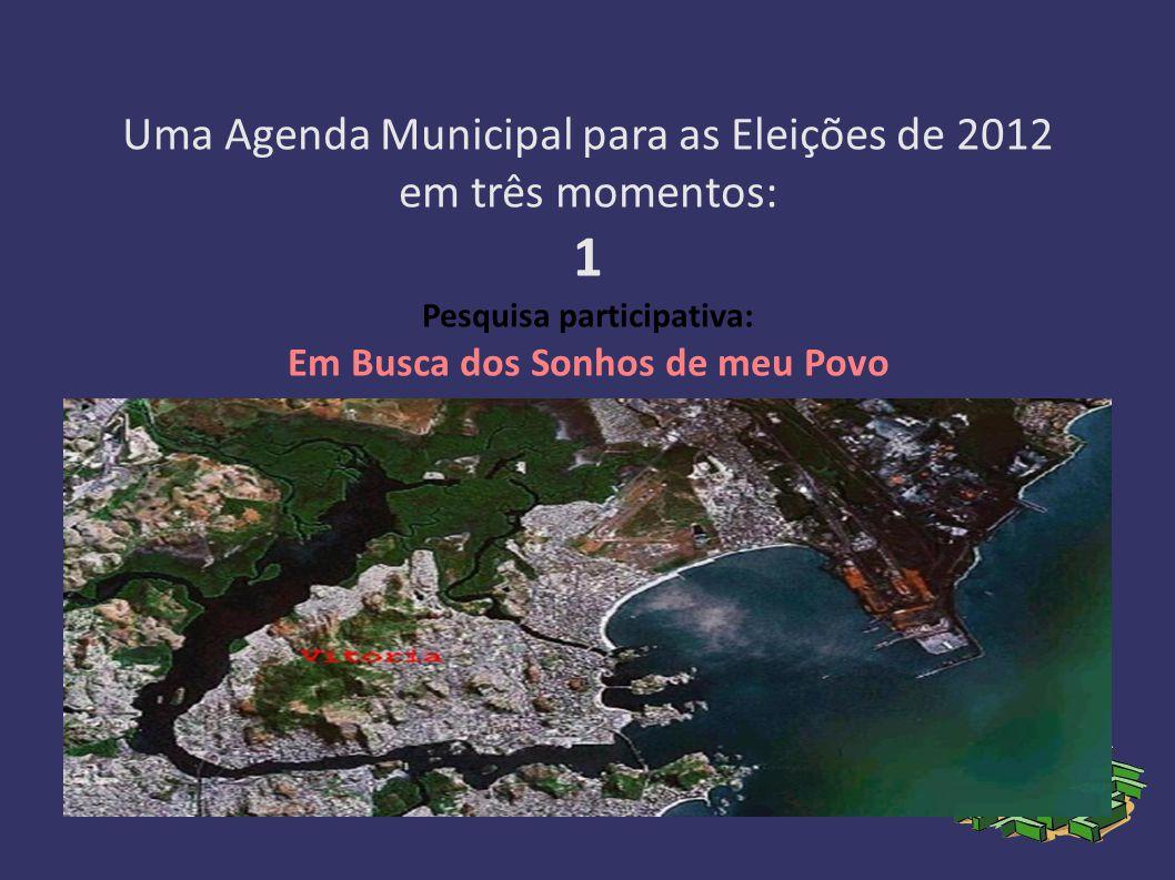 Uma Agenda Municipal para as Eleições de 2012 em três momentos: 1 Pesquisa participativa: Em Busca dos Sonhos de meu Povo 2 Projeto popular: Construindo a Cidade de Vitória que Sonhamos 3 Campanha: Por uma Gestão Popular da Cidade de Vitória