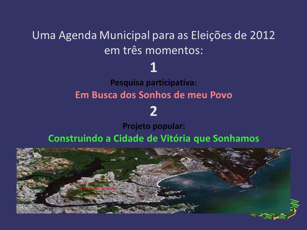 Hoje, a ideia se formula como Uma Agenda Municipal para as Eleições de 2012, em três momentos: Momento 1 : Pesquisa participativa: Em Busca dos Sonhos de meu Povo Fevereiro – Julho de 2011 Momento 2 : Projeto popular: Construindo a Cidade de Vitória que Sonhamos Julho – Novembro de 2011 Momento 3 : Campanha: Por uma Gestão Popular da Cidade de Vitória Março – Dezembro de 2012