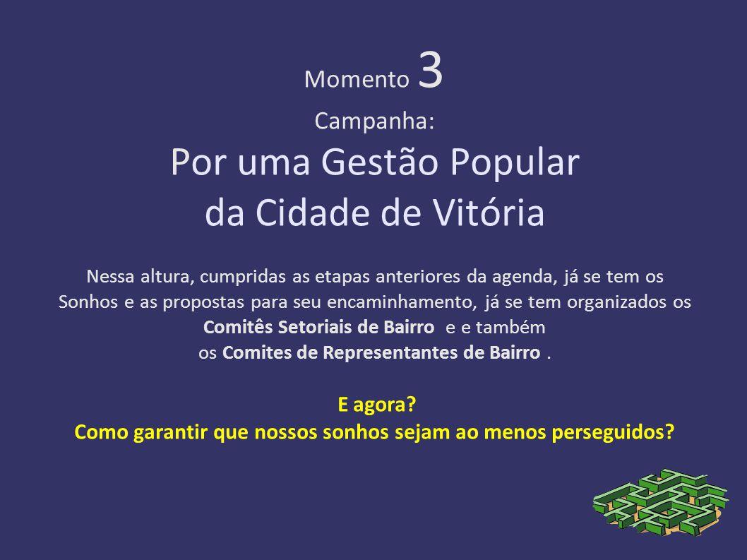 Momento 3 Campanha: Por uma Gestão Popular da Cidade de Vitória Nessa altura, cumpridas as etapas anteriores da agenda, já se tem os Sonhos e as propostas para seu encaminhamento, já se tem organizados os Comitês Setoriais de Bairro e e também os Comites de Representantes de Bairro.