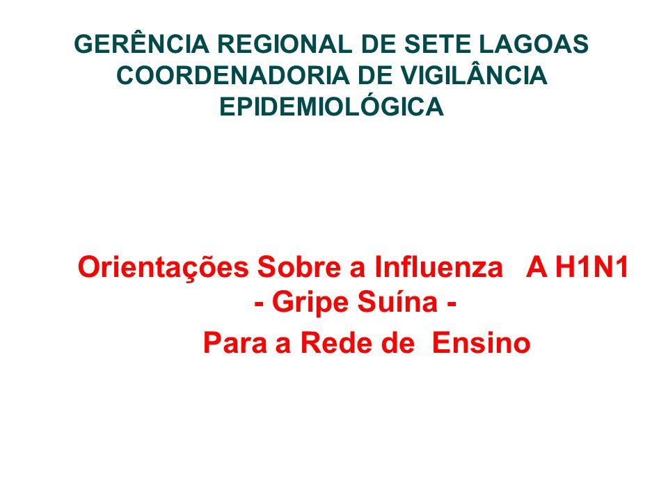 GERÊNCIA REGIONAL DE SETE LAGOAS COORDENADORIA DE VIGILÂNCIA EPIDEMIOLÓGICA Orientações Sobre a Influenza A H1N1 - Gripe Suína - Para a Rede de Ensino