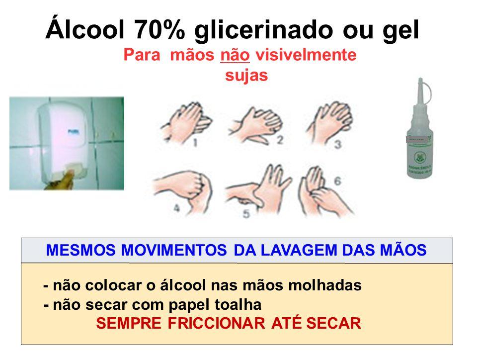 Álcool 70% glicerinado ou gel Para mãos não visivelmente sujas - não colocar o álcool nas mãos molhadas - não secar com papel toalha SEMPRE FRICCIONAR