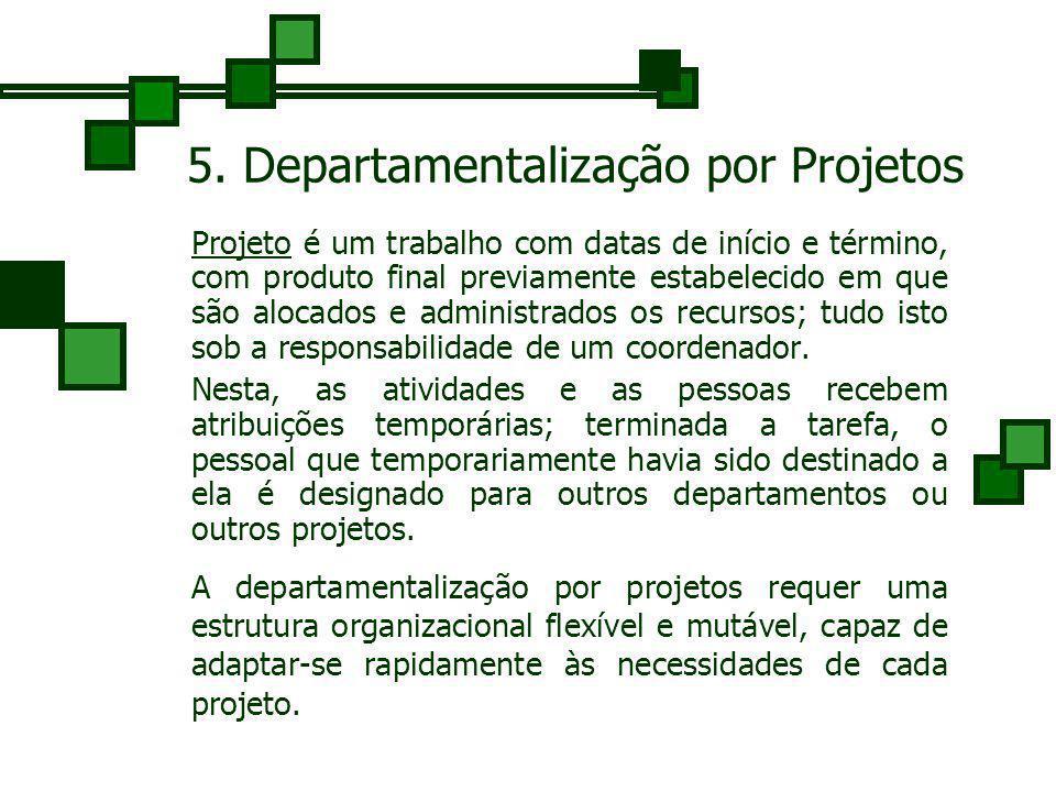 4. Departamentalização por Processo Departamentalização por fases do processo, por processamento ou ainda por equipamento, é muito utilizada nas indús