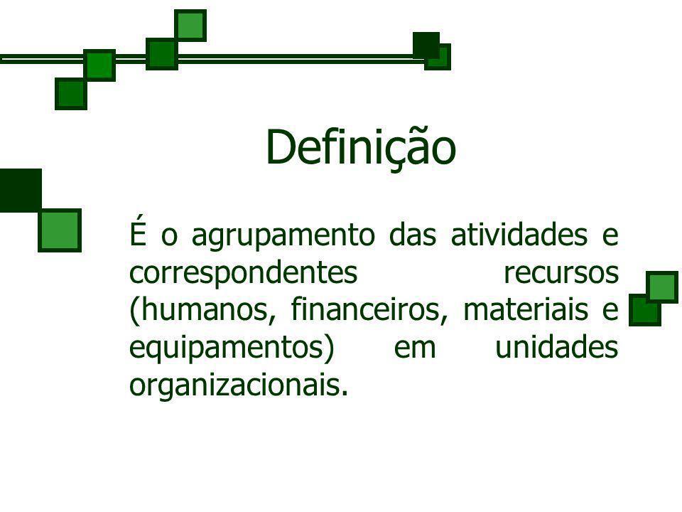 Definição É o agrupamento das atividades e correspondentes recursos (humanos, financeiros, materiais e equipamentos) em unidades organizacionais.