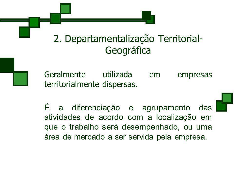 1. Departamentalização Funcional É o critério mais usado. As atividades são agrupadas de acordo com as principais funções desenvolvidas dentro da empr