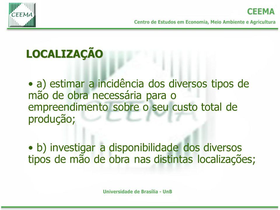 LOCALIZAÇÃO a) estimar a incidência dos diversos tipos de mão de obra necessária para o empreendimento sobre o seu custo total de produção; b) investi