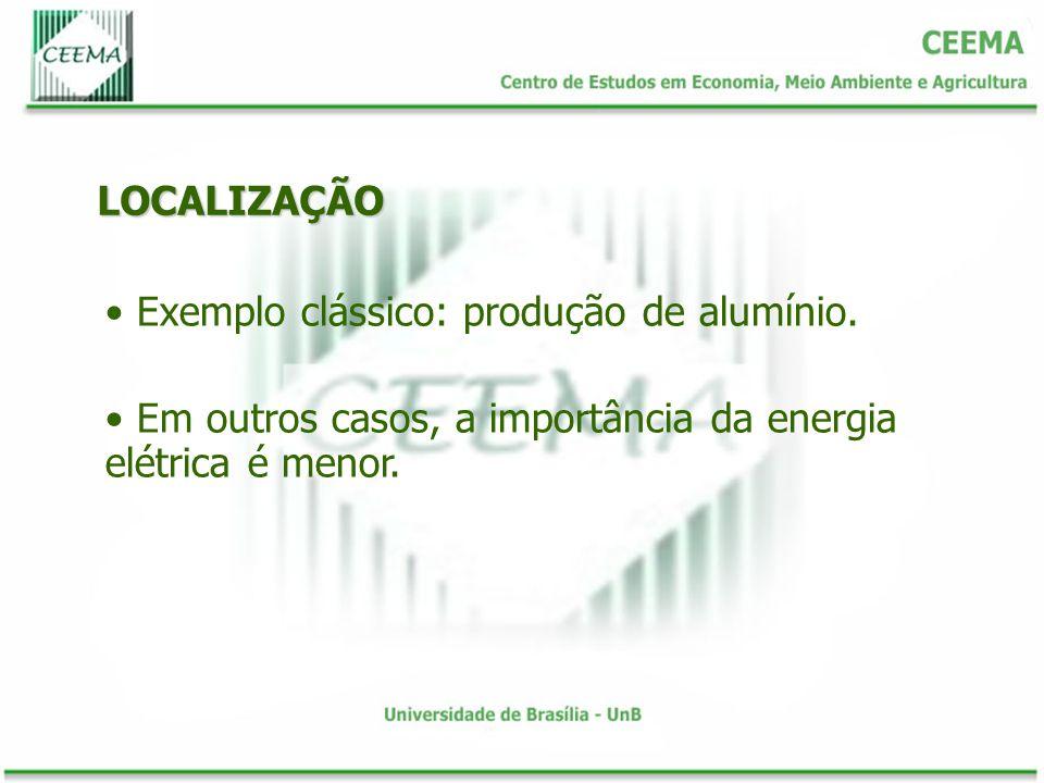 LOCALIZAÇÃO Exemplo clássico: produção de alumínio. Em outros casos, a importância da energia elétrica é menor.