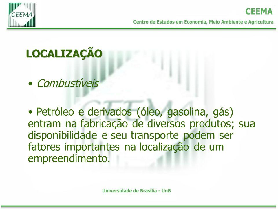 LOCALIZAÇÃO Combustíveis Petróleo e derivados (óleo, gasolina, gás) entram na fabricação de diversos produtos; sua disponibilidade e seu transporte po