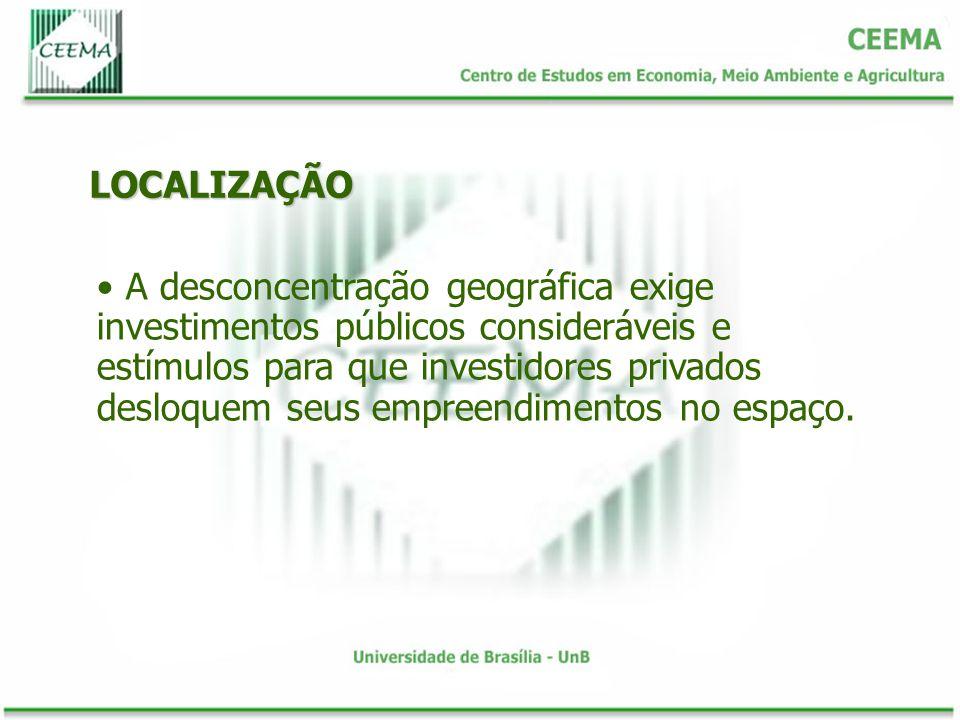 LOCALIZAÇÃO A desconcentração geográfica exige investimentos públicos consideráveis e estímulos para que investidores privados desloquem seus empreend