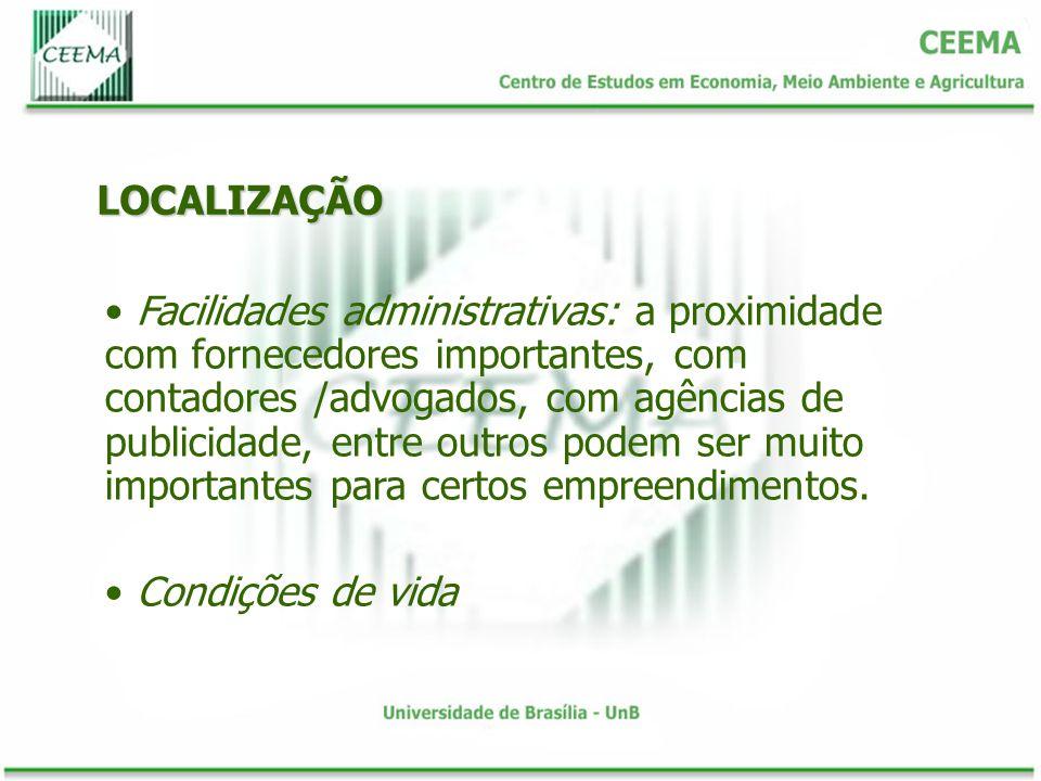 LOCALIZAÇÃO Facilidades administrativas: a proximidade com fornecedores importantes, com contadores /advogados, com agências de publicidade, entre out