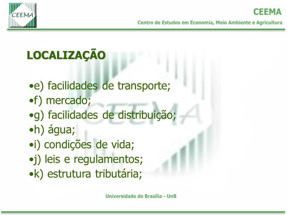 LOCALIZAÇÃO e) facilidades de transporte; f) mercado; g) facilidades de distribuição; h) água; i) condições de vida; j) leis e regulamentos; k) estrut