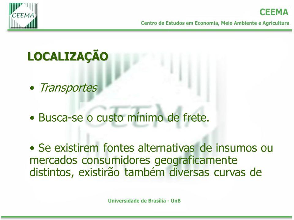 LOCALIZAÇÃO Transportes Busca-se o custo mínimo de frete. Se existirem fontes alternativas de insumos ou mercados consumidores geograficamente distint