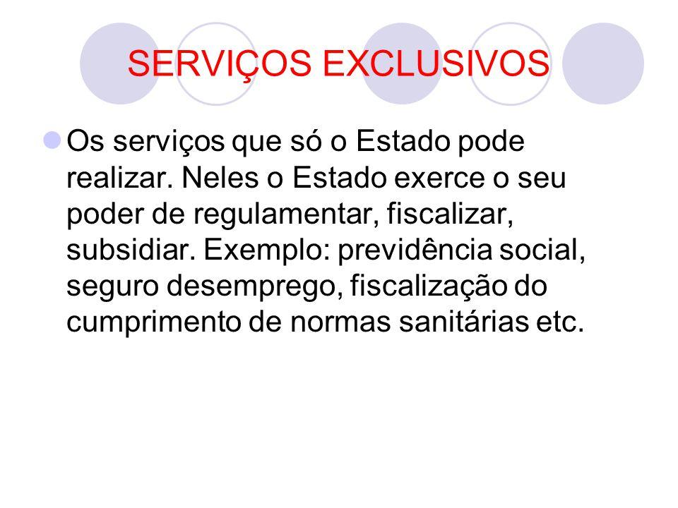 SERVIÇOS EXCLUSIVOS Os serviços que só o Estado pode realizar.