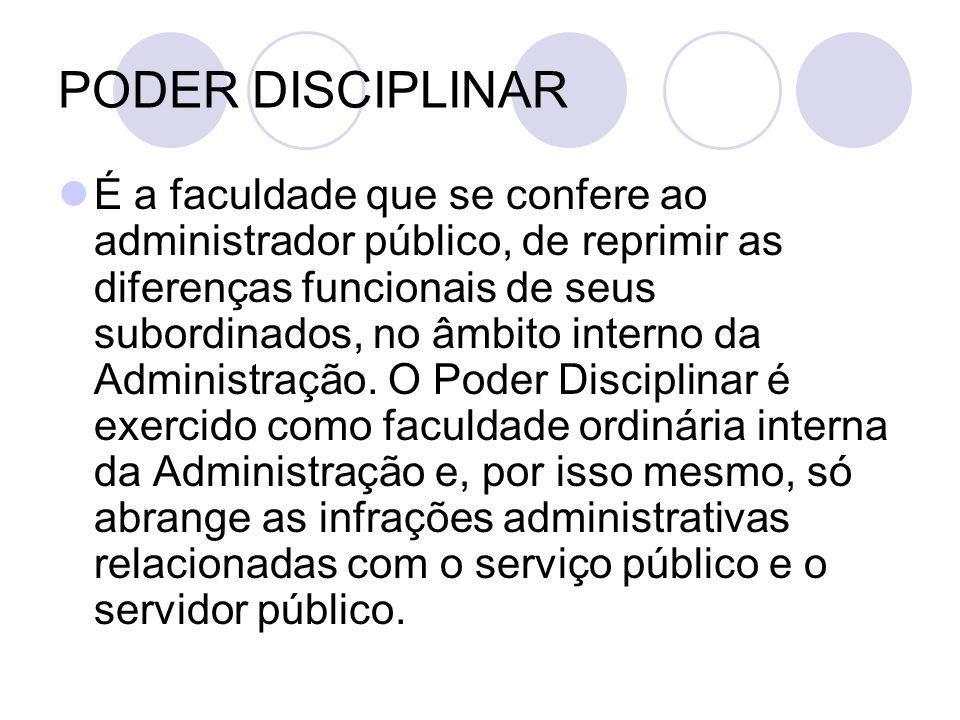 PODER DISCIPLINAR É a faculdade que se confere ao administrador público, de reprimir as diferenças funcionais de seus subordinados, no âmbito interno da Administração.