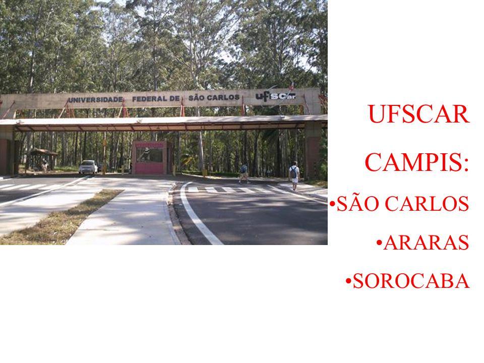 UFSCAR CAMPIS: SÃO CARLOS ARARAS SOROCABA