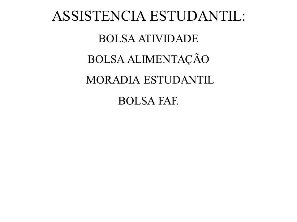 ASSISTENCIA ESTUDANTIL: BOLSA ATIVIDADE BOLSA ALIMENTAÇÃO MORADIA ESTUDANTIL BOLSA FAF.
