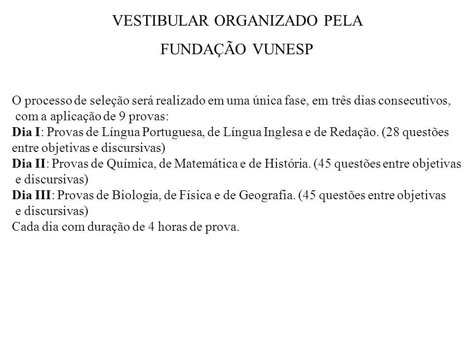 VESTIBULAR ORGANIZADO PELA FUNDAÇÃO VUNESP O processo de seleção será realizado em uma única fase, em três dias consecutivos, com a aplicação de 9 provas: Dia I: Provas de Língua Portuguesa, de Língua Inglesa e de Redação.