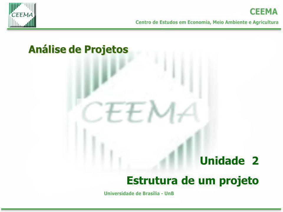 Análise de Projetos Unidade 2 Estrutura de um projeto