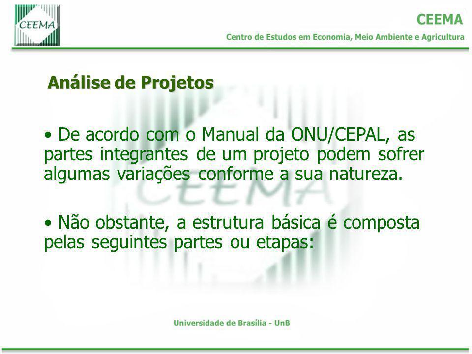 Análise de Projetos De acordo com o Manual da ONU/CEPAL, as partes integrantes de um projeto podem sofrer algumas variações conforme a sua natureza. N