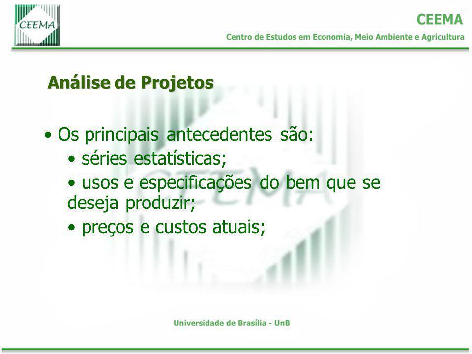 Análise de Projetos Os principais antecedentes são: séries estatísticas; usos e especificações do bem que se deseja produzir; preços e custos atuais;