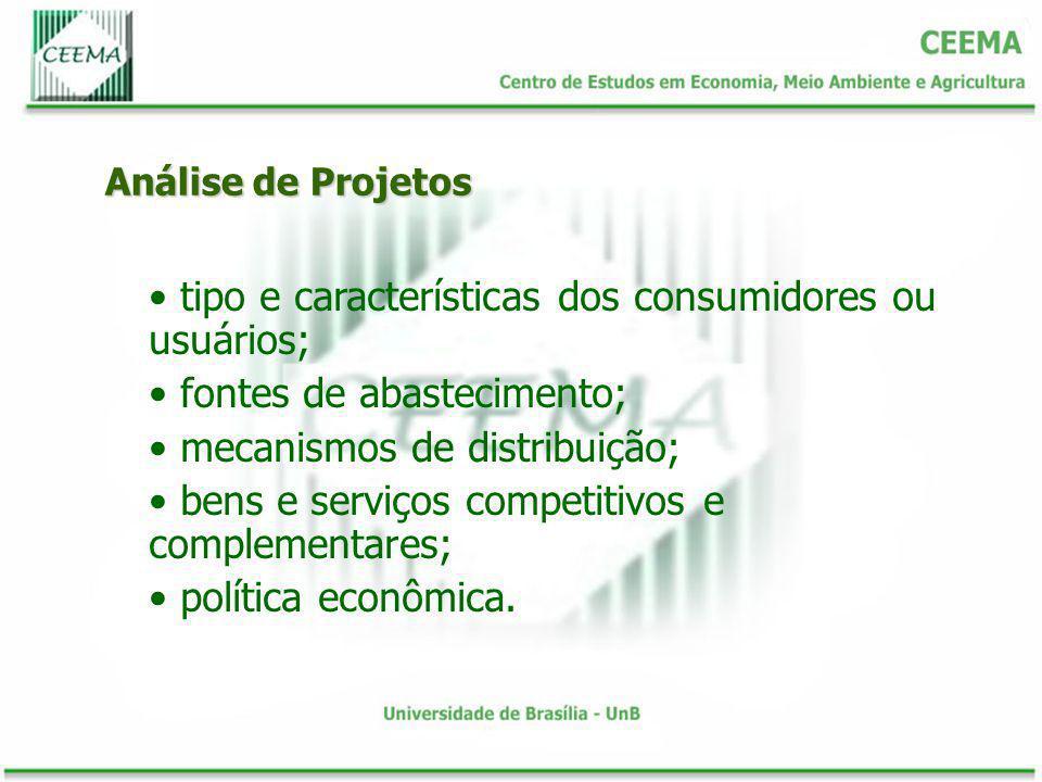 Análise de Projetos tipo e características dos consumidores ou usuários; fontes de abastecimento; mecanismos de distribuição; bens e serviços competit