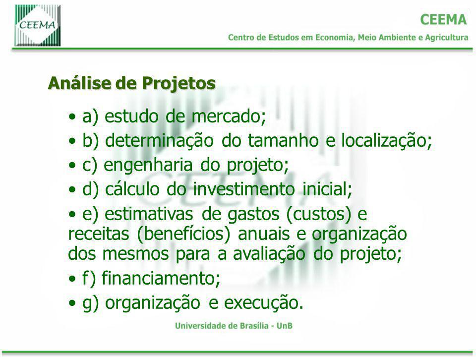 Análise de Projetos a) estudo de mercado; b) determinação do tamanho e localização; c) engenharia do projeto; d) cálculo do investimento inicial; e) e