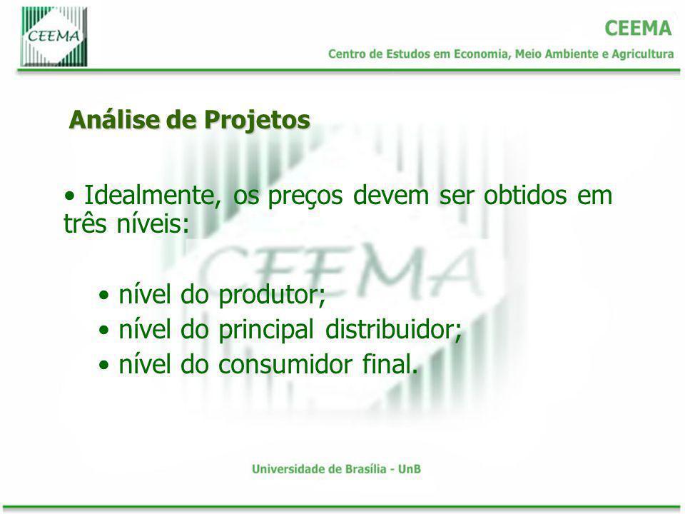 Análise de Projetos Idealmente, os preços devem ser obtidos em três níveis: nível do produtor; nível do principal distribuidor; nível do consumidor fi