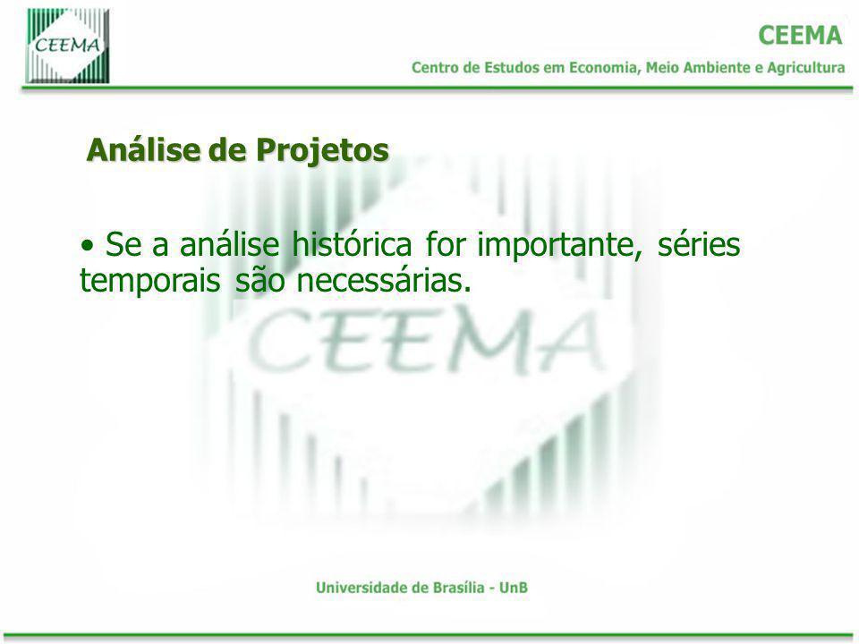 Análise de Projetos Se a análise histórica for importante, séries temporais são necessárias.