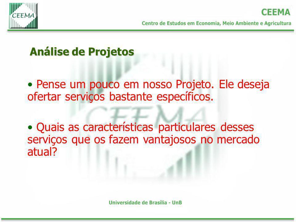 Análise de Projetos Pense um pouco em nosso Projeto. Ele deseja ofertar serviços bastante específicos. Quais as características particulares desses se