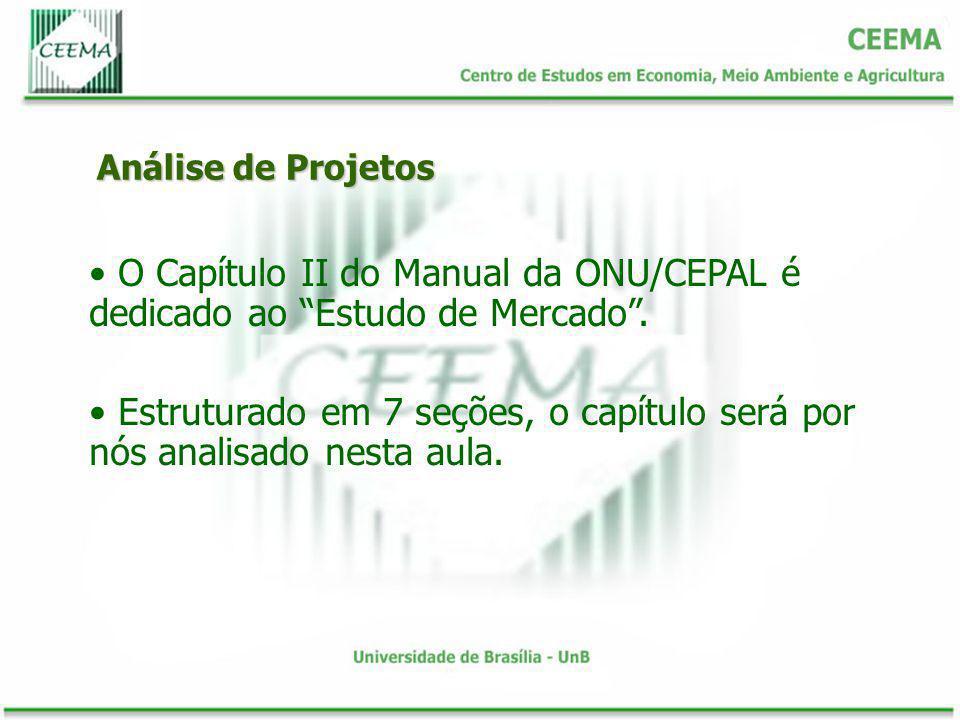 Análise de Projetos O Capítulo II do Manual da ONU/CEPAL é dedicado ao Estudo de Mercado. Estruturado em 7 seções, o capítulo será por nós analisado n